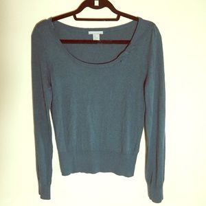 H&M Wmns Sz M Sweater With Angora Green Bow Detail